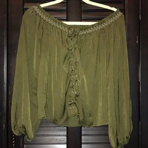 Olive green off the shoulder blouse.